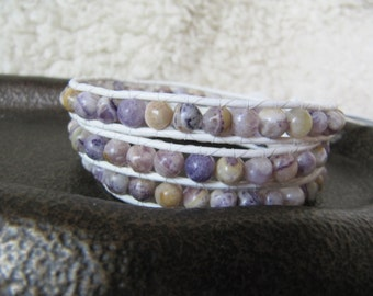 Purple Quartzite Beaded Leather Wrap Bracelet with White Leather