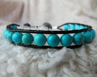 Single Turquoise Gemstone Beaded Leather Wrap Bracelet