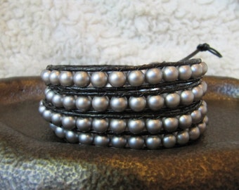 Grey Glass Pearl Beaded Leather Wrap Bracelet