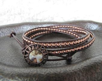 Copper Metal Triple Wrap Beaded Leather Wrap Bracelet