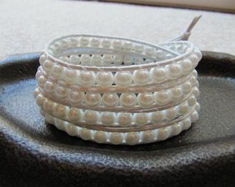 Swarovski White Pearl Bead Leather Wrap Bracelet with White Leather