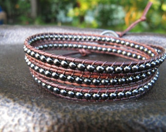 Triple Brown Leather Wrap Bracelet with Gunmetal Beads - Bohemian Bracelet - Wrap Bracelet - Leather Wrap - Brown Leather Wrap - Gunmetal