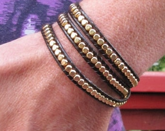 Gold Bead Triple Wrap Bracelet with Brown Leather