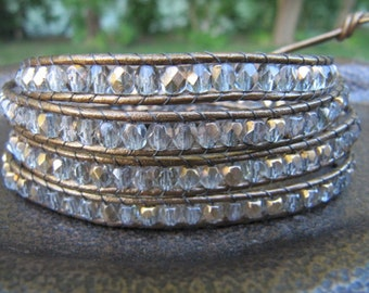 Gold Crystal Bead Leather Wrap Bracelet with Metallic Leather