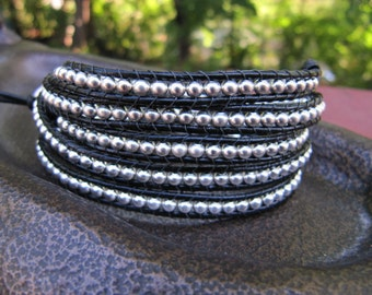 Wrap Bracelet, Silver Beaded Wrap, Black Leather Wrap Bracelet