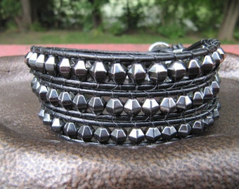 Faceted Hematite Triple Leather Wrap Bracelet with Black Leather