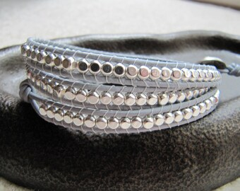 Grey Silver Rounded Cube Triple Beaded Leather Wrap Bracelet