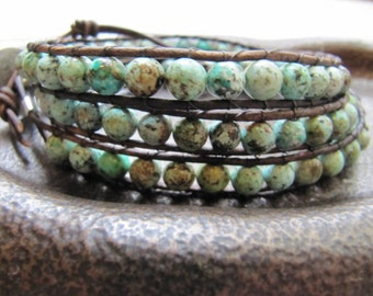 African Turquoise Triple Beaded Leather Wrap Bracelet with Natural Brown Leather