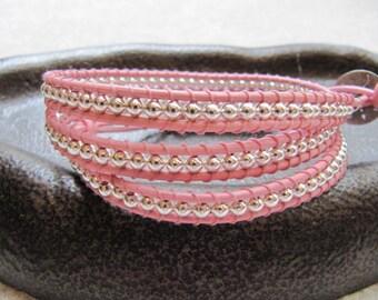Sterling Silver Triple Pink Leather Wrap Bracelet