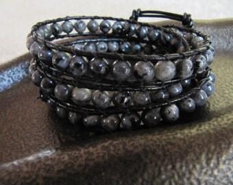 Triple Black Beaded Labradorite Leather Wrap Bracelet