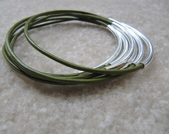 Absinth Green Leather Bangles with Silver - Set of 6