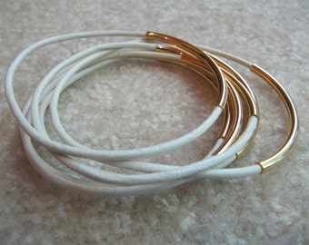 White Leather Bangles with Gold  - Set of 6