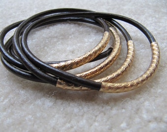 Brown Leather Bangles with Carved Gold Tubes - Extra Thick