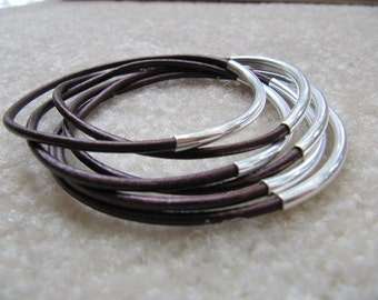Metallic Maroon Leather Bangles with Silver - Set of 6