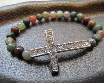 Sideways Cross Silver Crystal Bracelet with Fancy Jasper