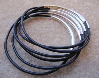 Dark Purple Leather Bangle with Silver - Set of 6