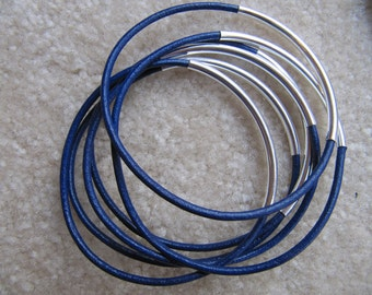 Royal Blue Leather Bangle with Silver - Set of 6
