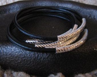 Black Leather Bangles with Carved Silver Tubes - Extra Thick