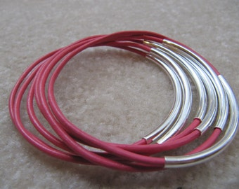 Pink Leather Bangles with Silver  - Set of 6