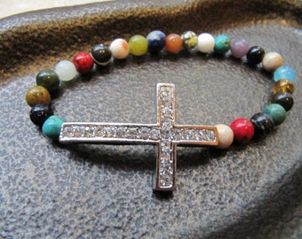 Sideways Cross Silver Crystal Bracelet with Mixed Gemstones