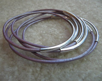 Metallic Light Lilac Purple Leather Bangles with Silver  - Set of 6
