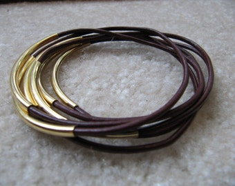 Maroon Leather Bangles with Gold - Set of 6
