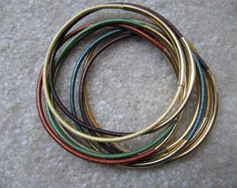 Fall Colored Leather Bangles with Gold - Set of 8