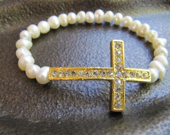 Gold Crystal Sideways Cross Bracelet with White Freshwater Pearls