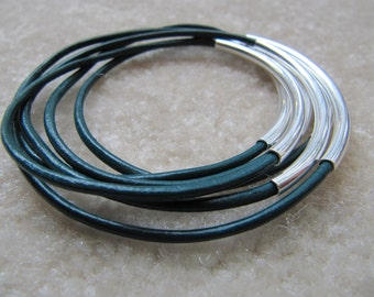 Emerald Green Leather Bangles with Silver - Set of 6