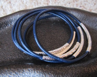 Navy Leather Bangles with Carved Silver Tubes - Extra Thick