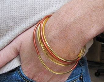Metallic Copper and Gold Leather Bangles - Set of 6
