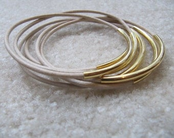 Tan Leather Bangles with Gold Tubes  - Set of 6