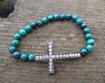 Sideways Cross Gunmetal Crystal Bracelet with Yellow Turquoise