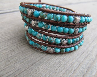 Beaded Leather Wrap Bracelet with Turquoise Gemstones & Silver Hearts