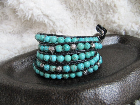 Turquoise Beaded Leather Wrap Bracelet with Silver Beads