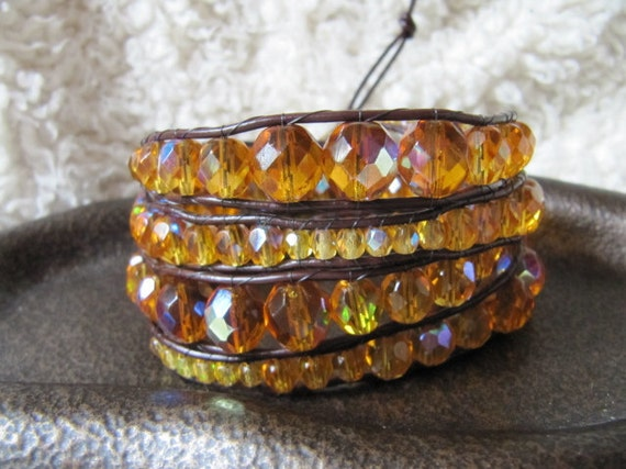 Graduated Amber Crystal Beaded Leather Wrap Bracelet - Brown Leather Wrap Bracelet - Gold Crystal Wrap Bracelet - Crystal Wrap Bracelet