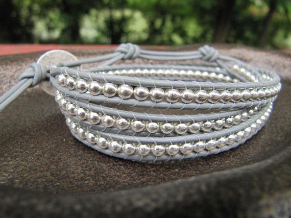 Beaded Leather Wrap Bracelet - Silver Triple Grey Leather Wrap Bracelet with Grey Leather - Wrap Bracelet - Grey Wrap Bracelet - Silver Wrap
