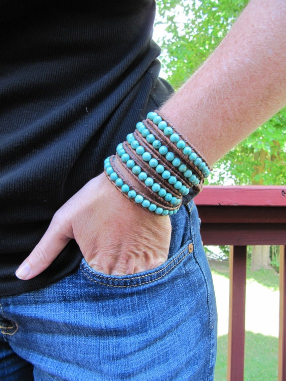 5x Wrap Turquoise Beaded Leather Wrap Bracelet with Natural Brown Leather - Chan Luu Style