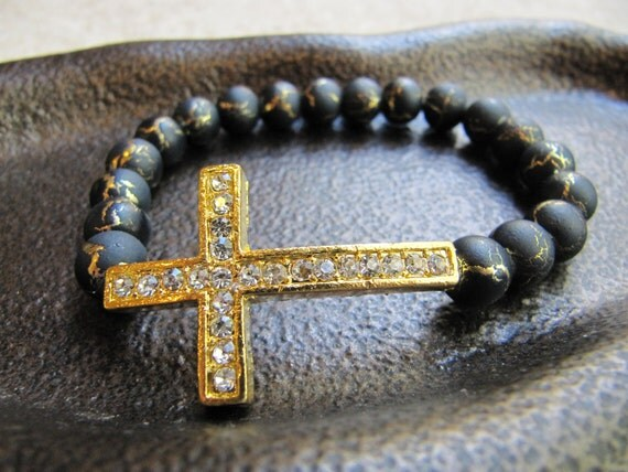Gold Crystal Side Cross Bracelet with Black Beads with Crackled Gold