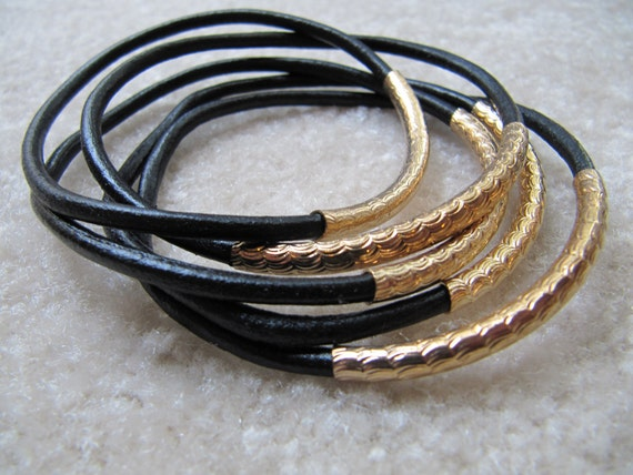 Black Leather Bangles with Carved Gold Tubes - Extra Thick