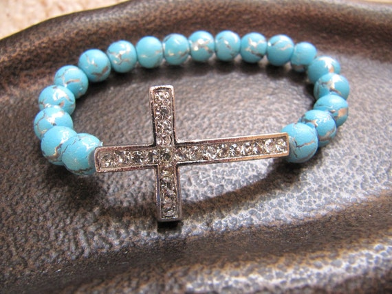 Silver Crystal Side Cross Bracelet with turqouise with Crackled Silver