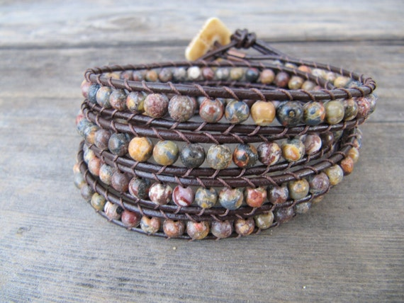 Leopard Jasper Leather Wrap Bracelet with Brown Leather