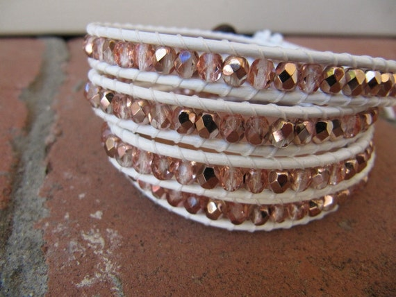 Rose Gold Crystal Beaded Leather Wrap Bracelet with White Leather