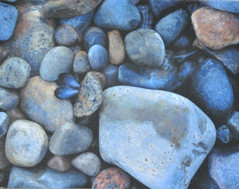 Rock Photography, Pebble Note Cards, Photo Notecards, Blank Notecards, 5x7 Photo Note Card Set