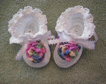 White Booties With White Ribbon & Variegated Flower Accent 16003