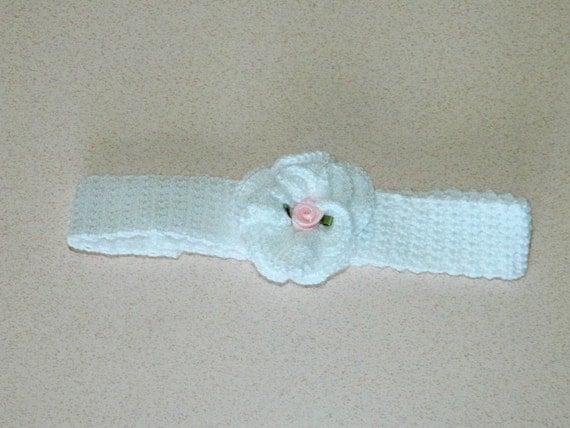 White Crochet Baby Headband 14011-G