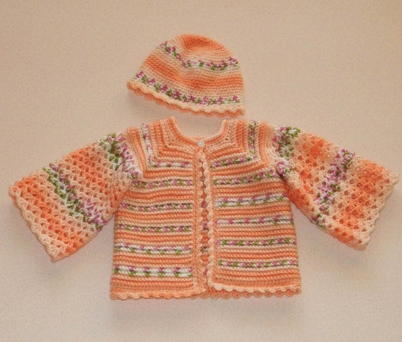 Crocheted Baby Jacket & Hat in Peach - Ready to Ship 13046-G