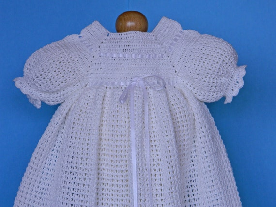 White Crochet Christening / Blessing Gown - Baptism Dress -Baby Dress -  READY TO SHIP - 13061-G