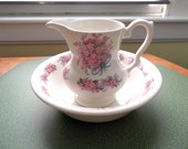 Vintage ironstone pink floral small wash bowl and pitcher