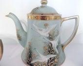 13 pc Nippon Tea Set: Rare Handpainted, Beaded, Jeweled & Raised Gild- circa 1890-1921- FREE US Shipping
